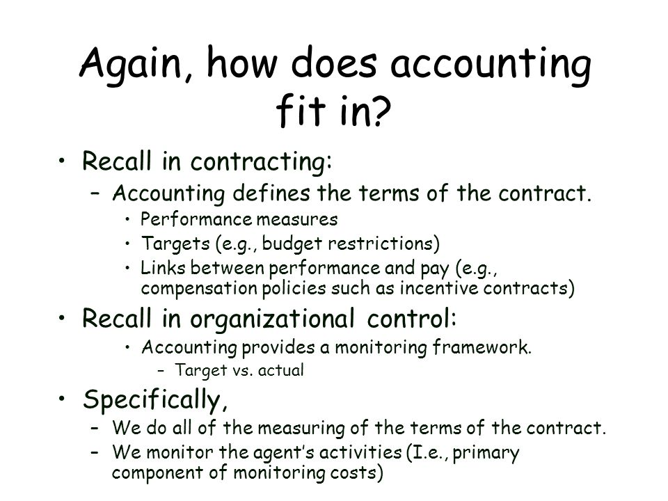 Again, how does accounting fit in
