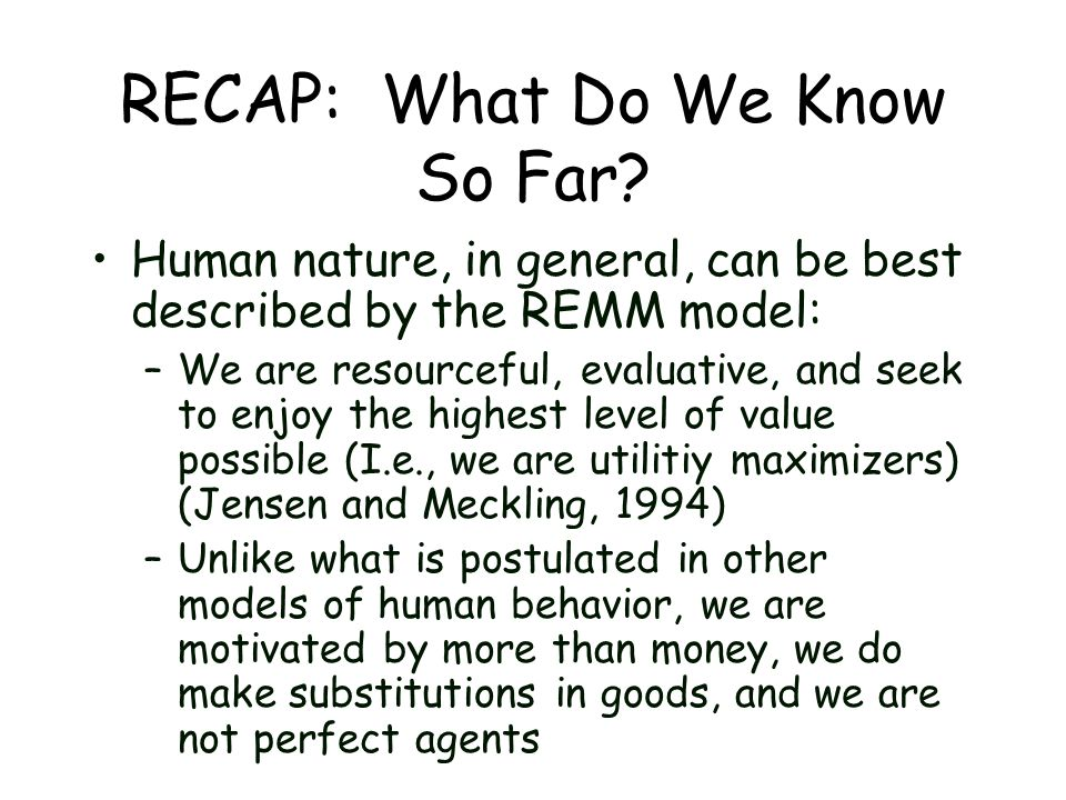 RECAP: What Do We Know So Far