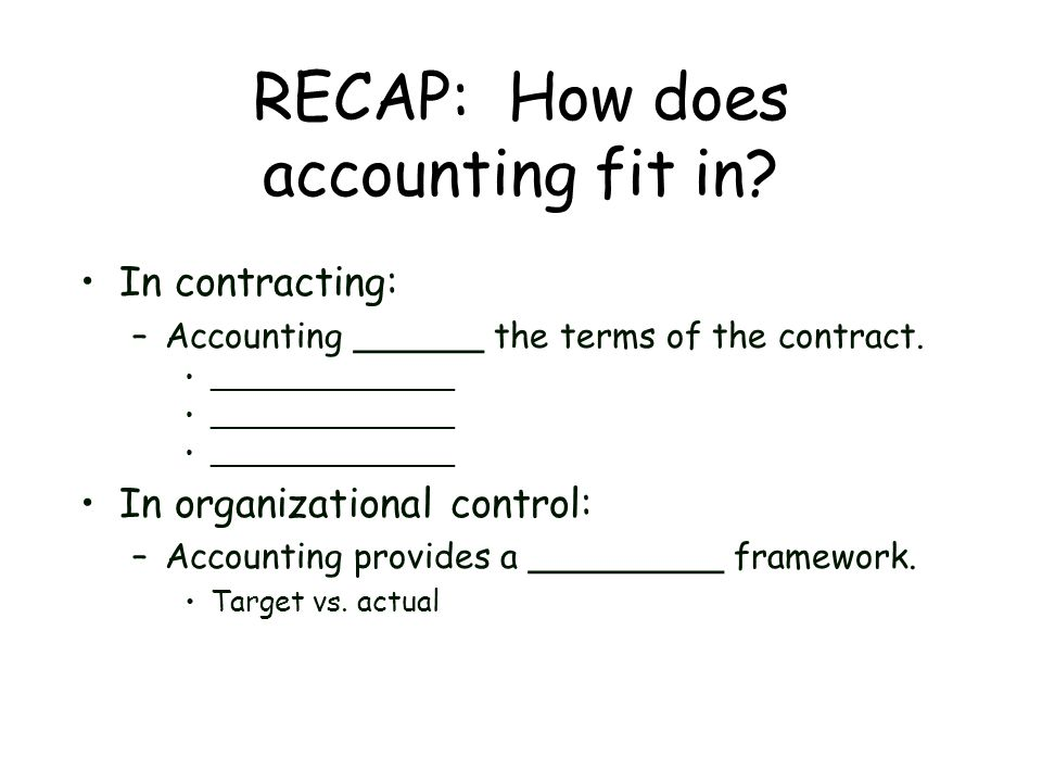 RECAP: How does accounting fit in