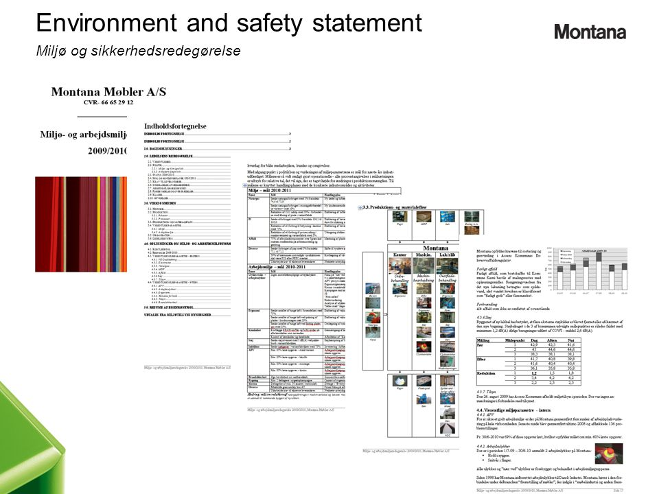 Environment and safety statement