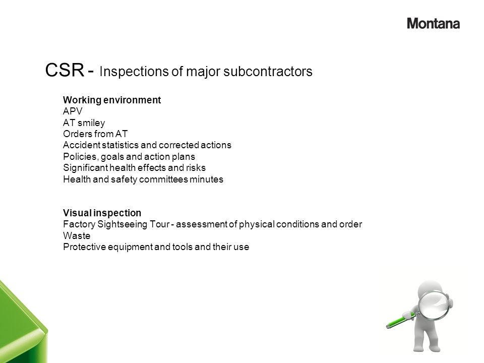 CSR - Inspections of major subcontractors