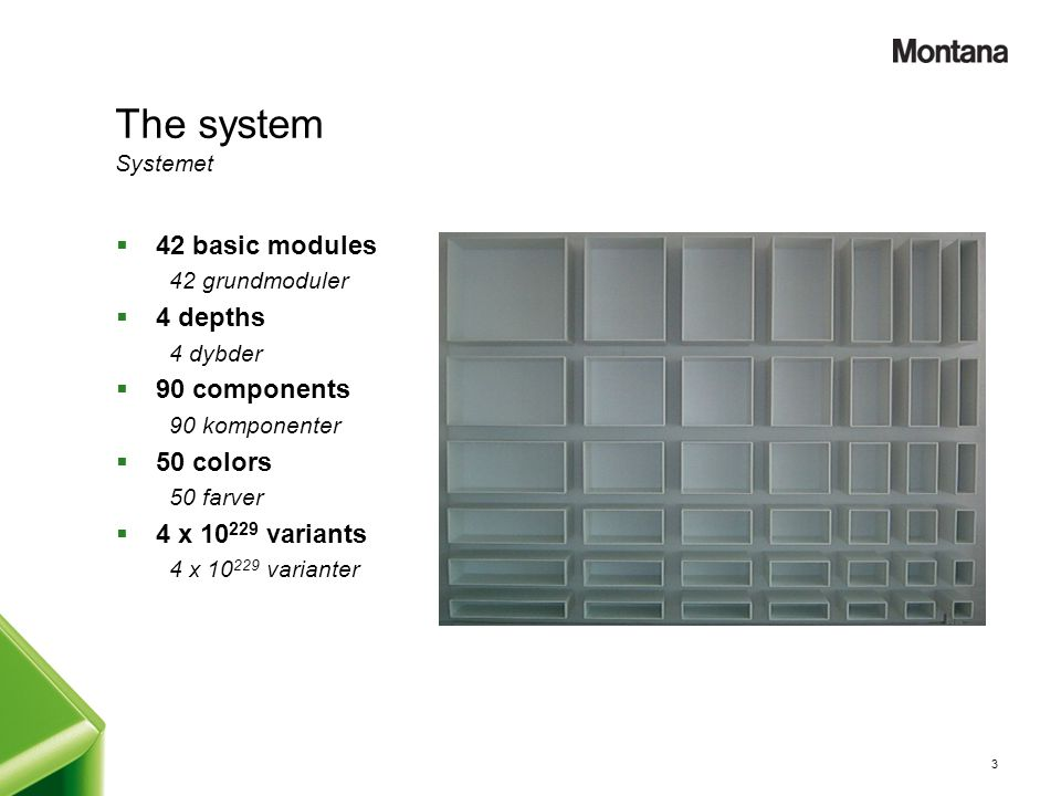 The system Systemet 42 basic modules 4 depths 90 components 50 colors