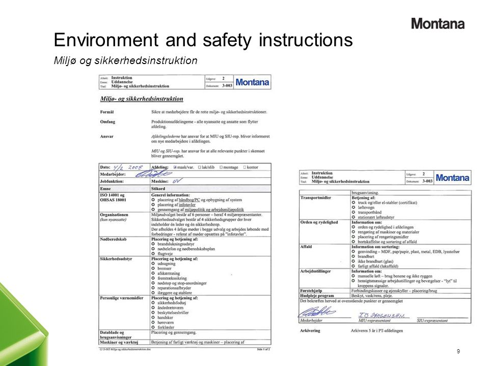 Environment and safety instructions