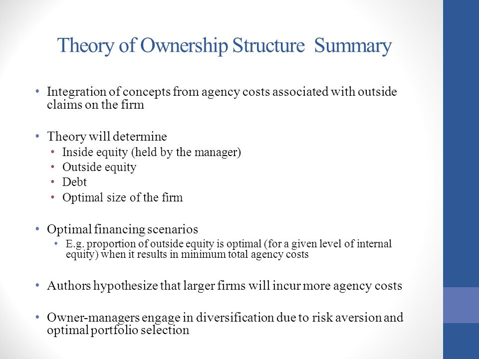 Theory of Ownership Structure Summary