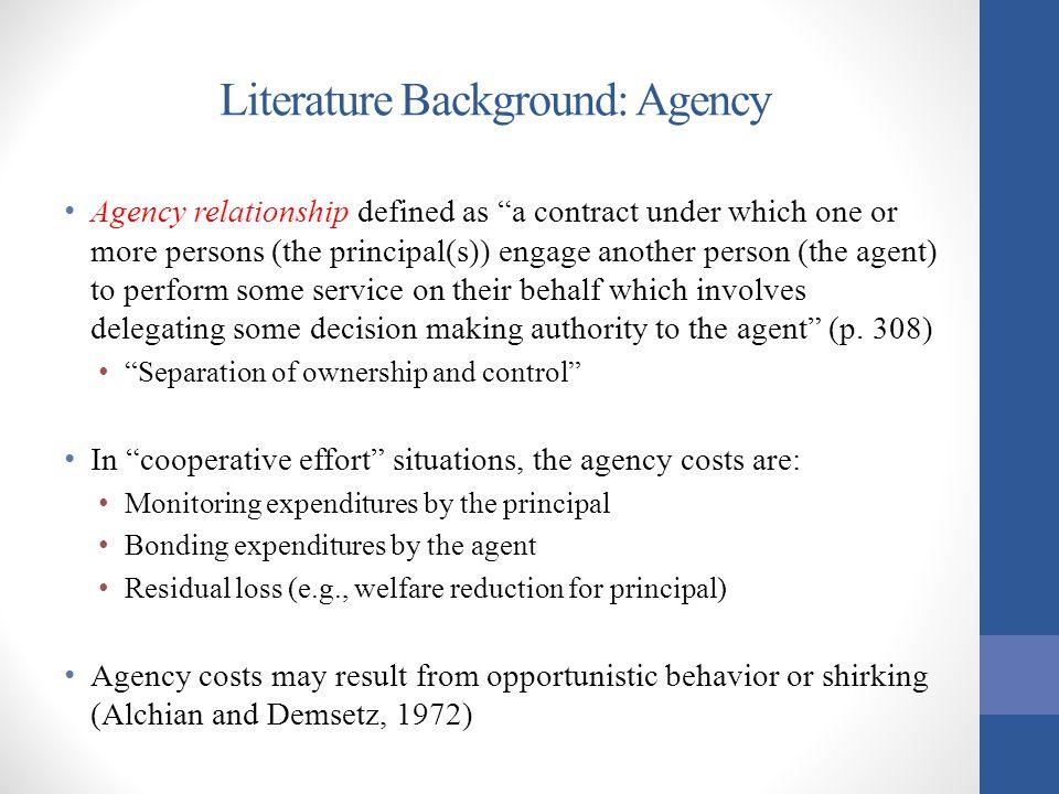 Literature Background: Agency