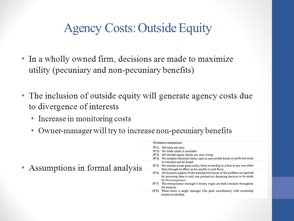 Agency Costs: Outside Equity