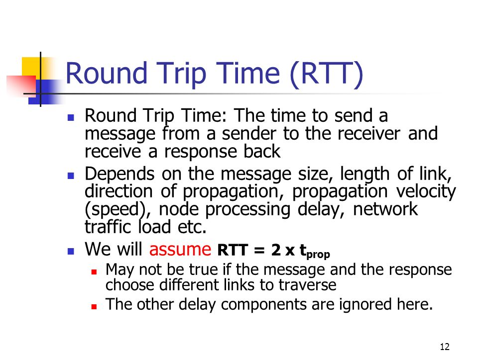 Round Trip Time (RTT) Round Trip Time: The time to send a message from a sender to the receiver and receive a response back.