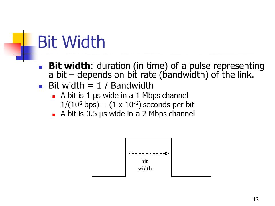 Bit Width Bit width: duration (in time) of a pulse representing a bit – depends on bit rate (bandwidth) of the link.