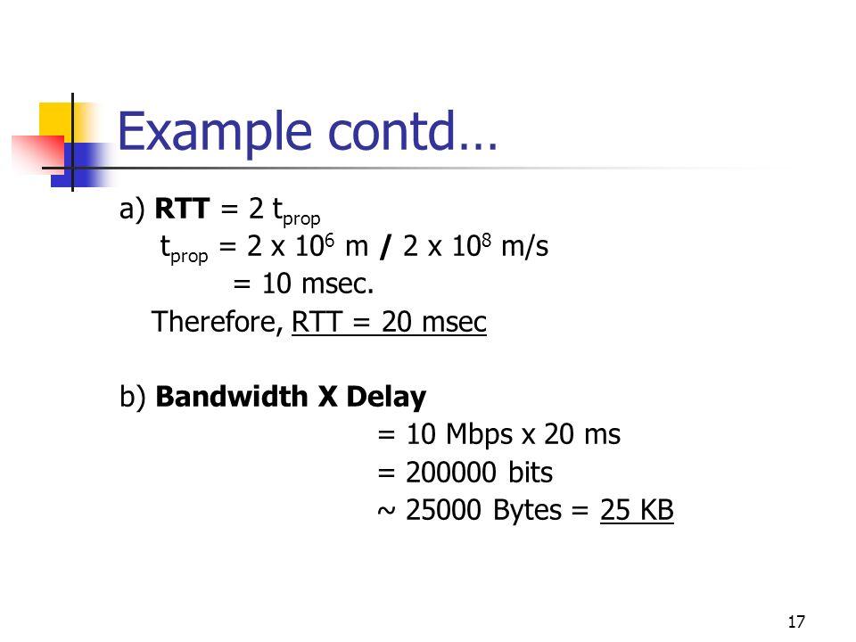 Example contd… a) RTT = 2 tprop tprop = 2 x 106 m / 2 x 108 m/s