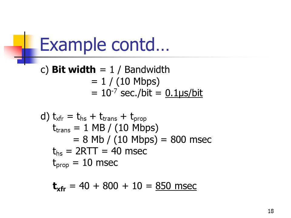Example contd… c) Bit width = 1 / Bandwidth = 1 / (10 Mbps)