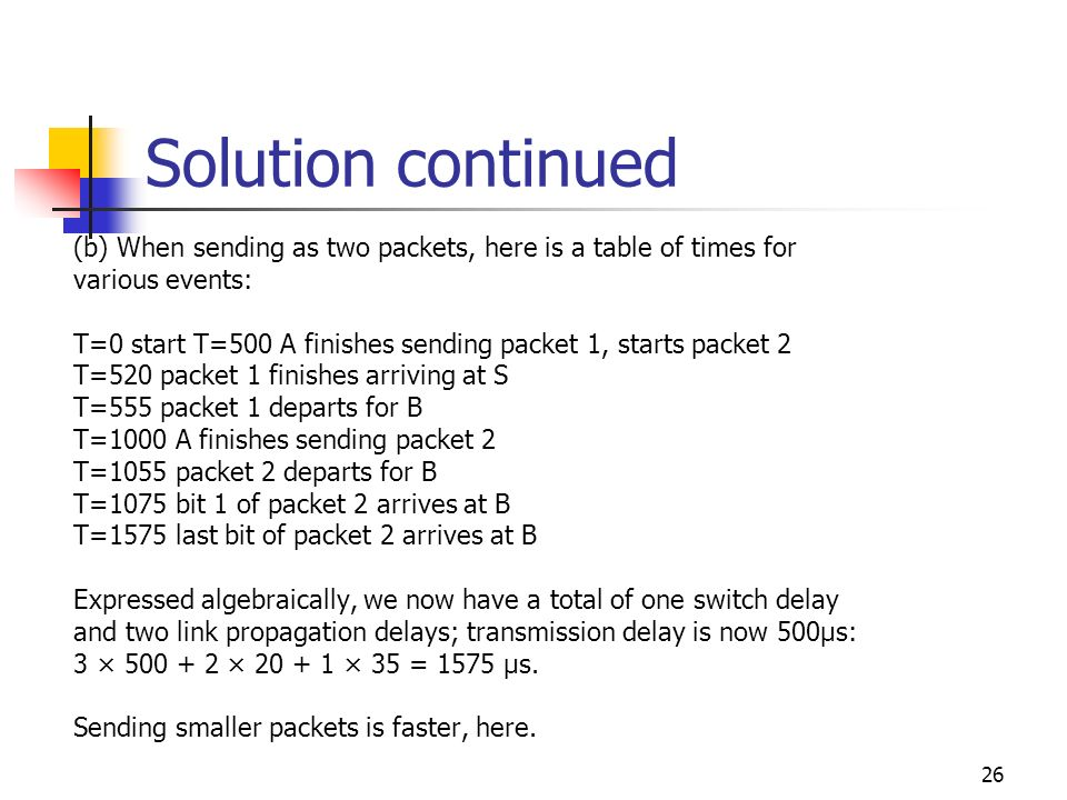 Solution continued (b) When sending as two packets, here is a table of times for. various events: