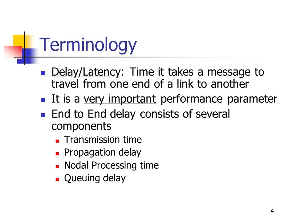 Terminology Delay/Latency: Time it takes a message to travel from one end of a link to another. It is a very important performance parameter.
