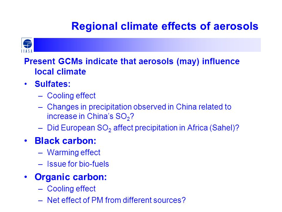 Regional climate effects of aerosols