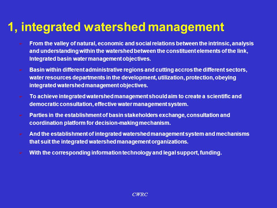1, integrated watershed management
