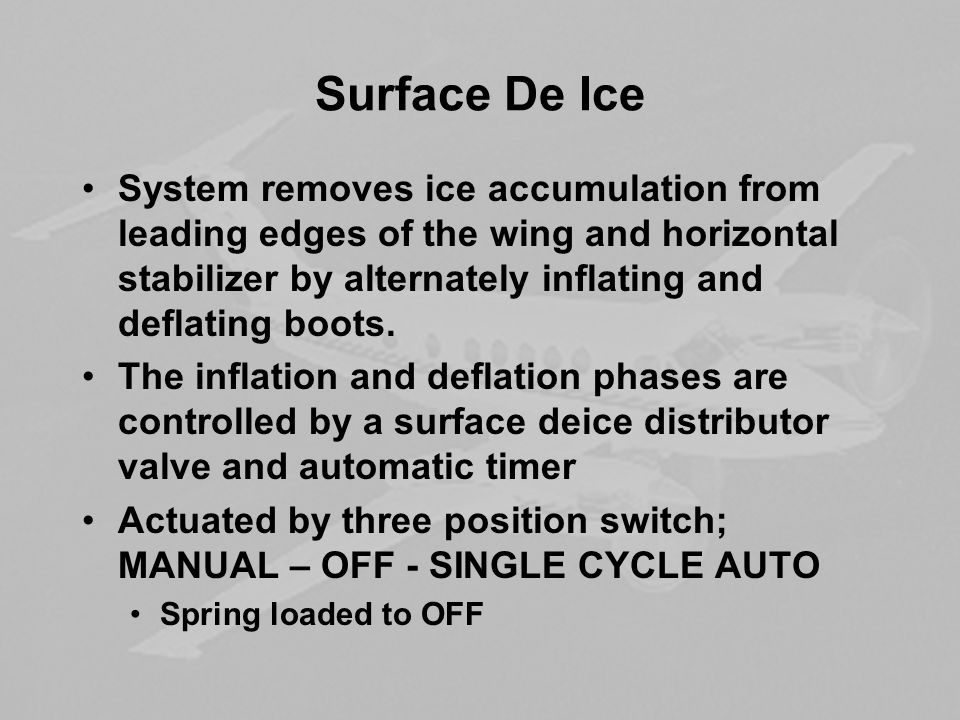 Surface De Ice System removes ice accumulation from leading edges of the wing and horizontal stabilizer by alternately inflating and deflating boots.