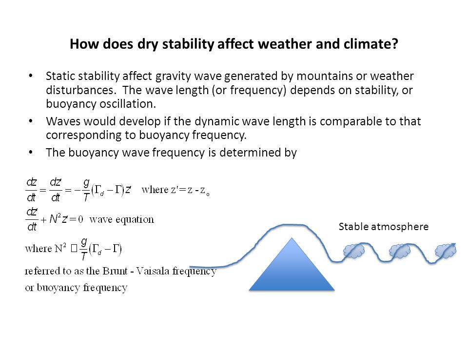 How does dry stability affect weather and climate