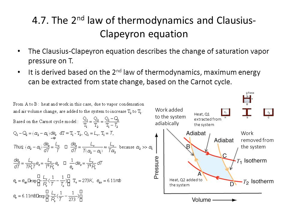 4.7. The 2nd law of thermodynamics and Clausius-Clapeyron equation