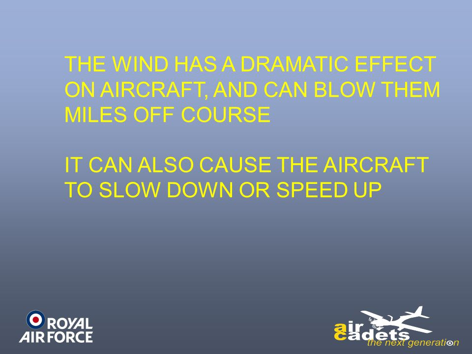 THE WIND HAS A DRAMATIC EFFECT ON AIRCRAFT, AND CAN BLOW THEM MILES OFF COURSE