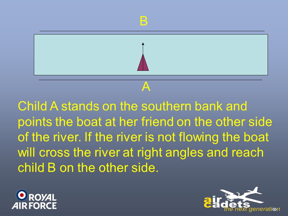 A B. Child A stands on the southern bank and. points the boat at her friend on the other side. of the river. If the river is not flowing the boat.