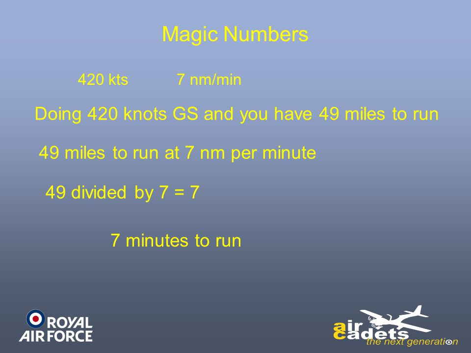 Magic Numbers Doing 420 knots GS and you have 49 miles to run