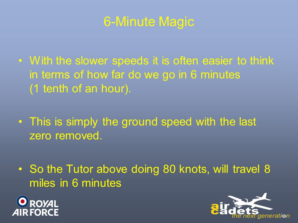 6-Minute Magic With the slower speeds it is often easier to think in terms of how far do we go in 6 minutes (1 tenth of an hour).
