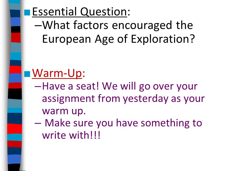 What factors encouraged the European Age of Exploration