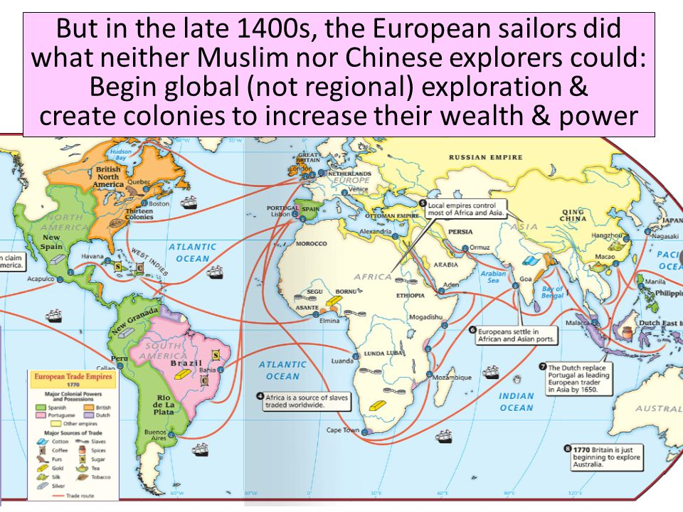 But in the late 1400s, the European sailors did what neither Muslim nor Chinese explorers could: Begin global (not regional) exploration & create colonies to increase their wealth & power