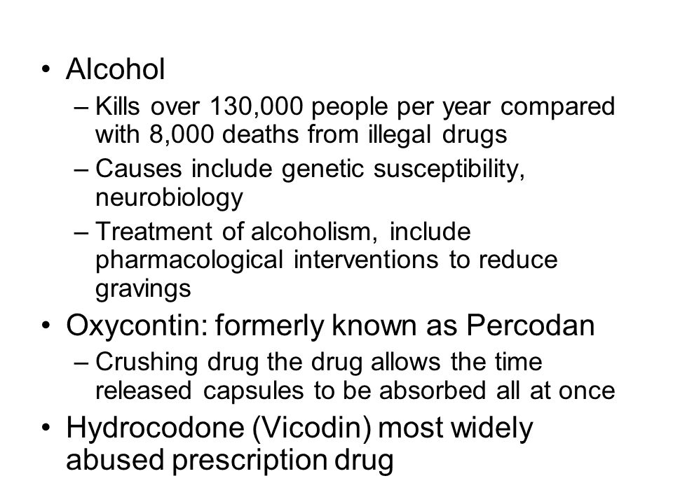 Oxycontin: formerly known as Percodan