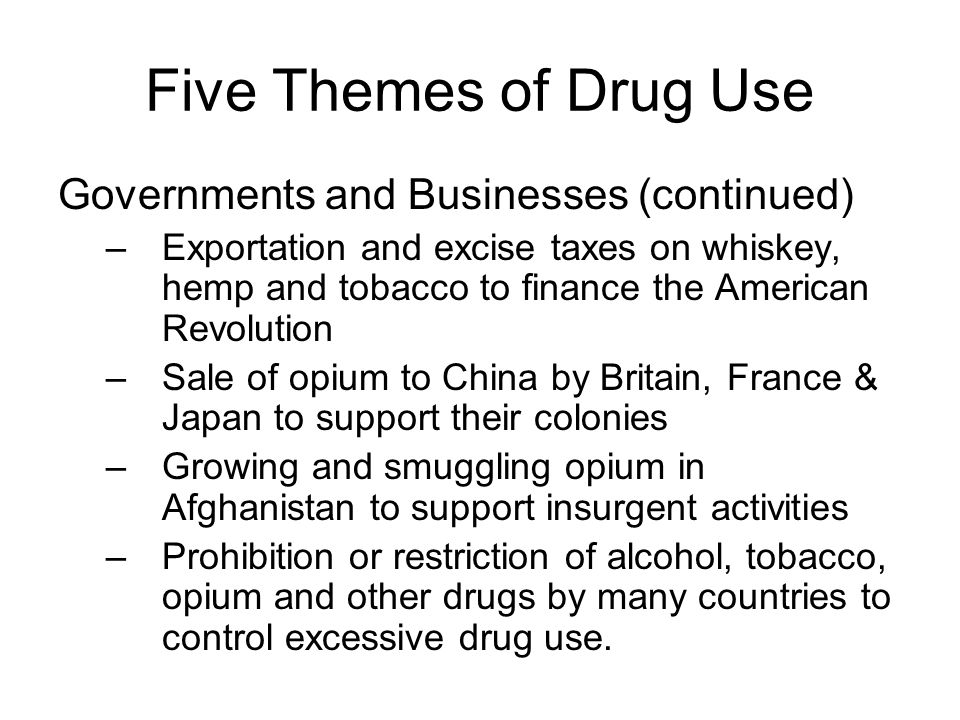 Five Themes of Drug Use Governments and Businesses (continued)