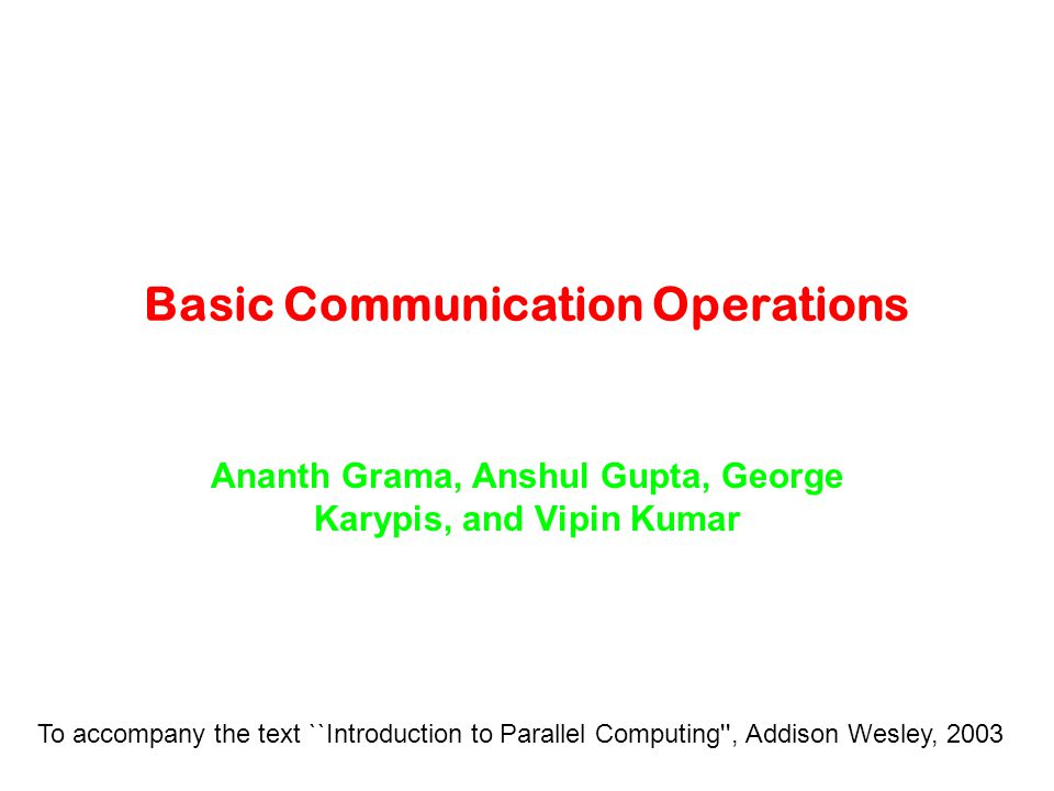 Basic Communication Operations