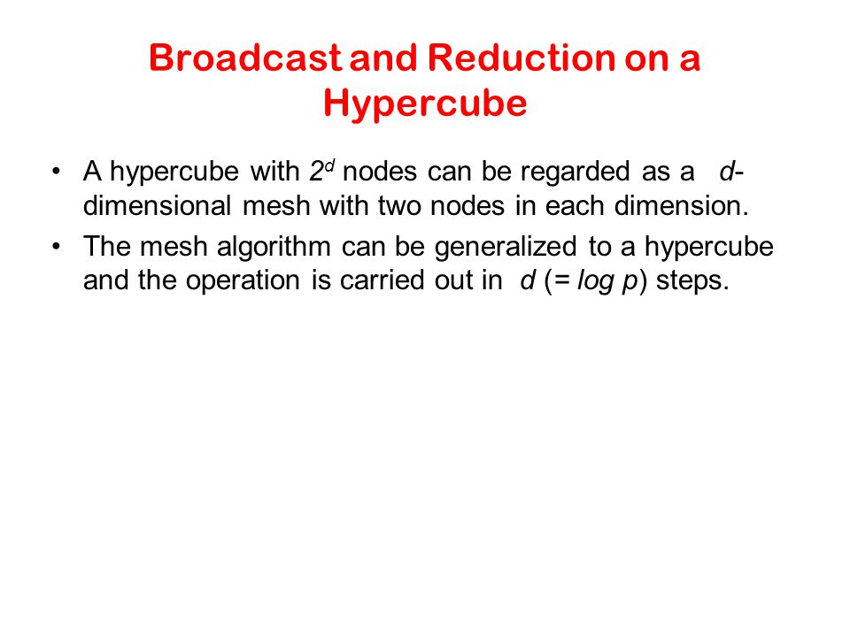 Broadcast and Reduction on a Hypercube
