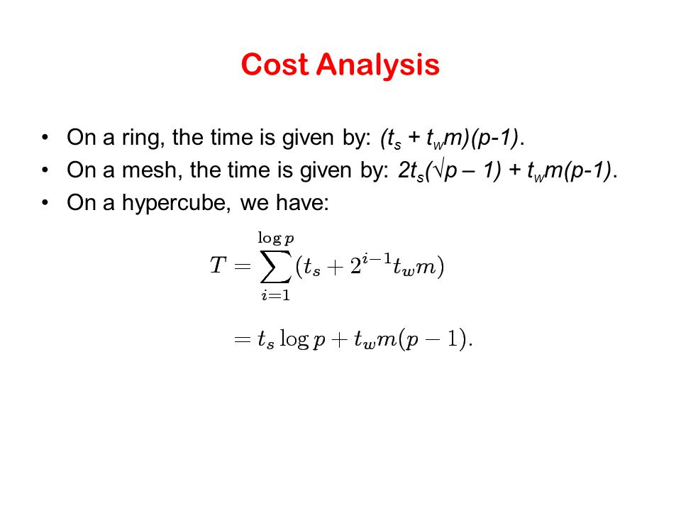 Cost Analysis On a ring, the time is given by: (ts + twm)(p-1).