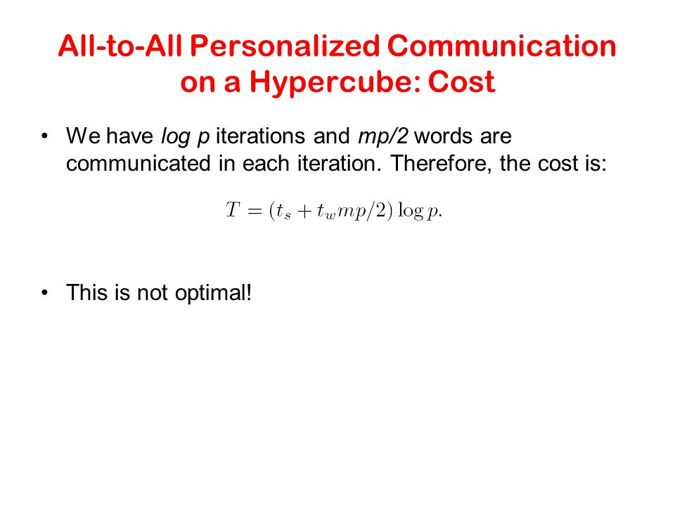 All-to-All Personalized Communication on a Hypercube: Cost