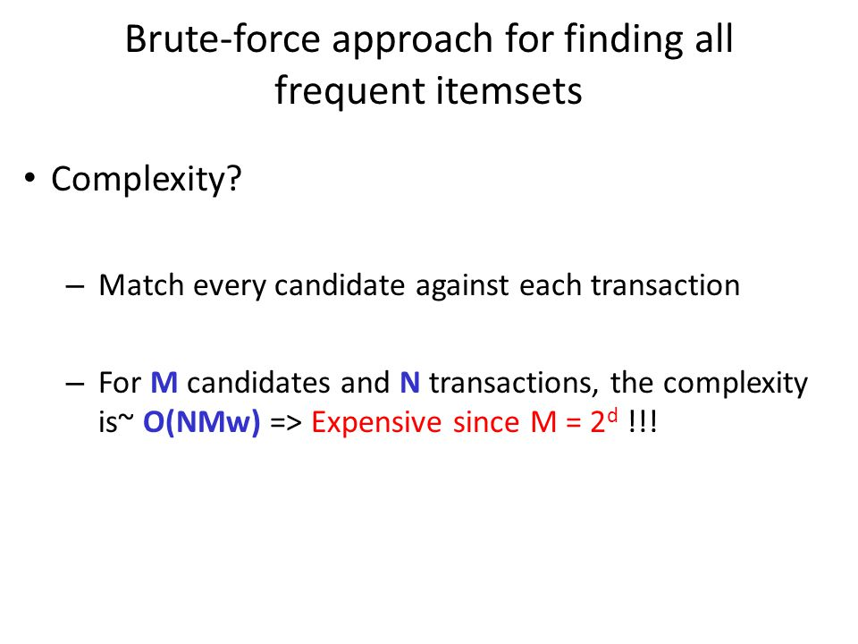 Brute-force approach for finding all frequent itemsets