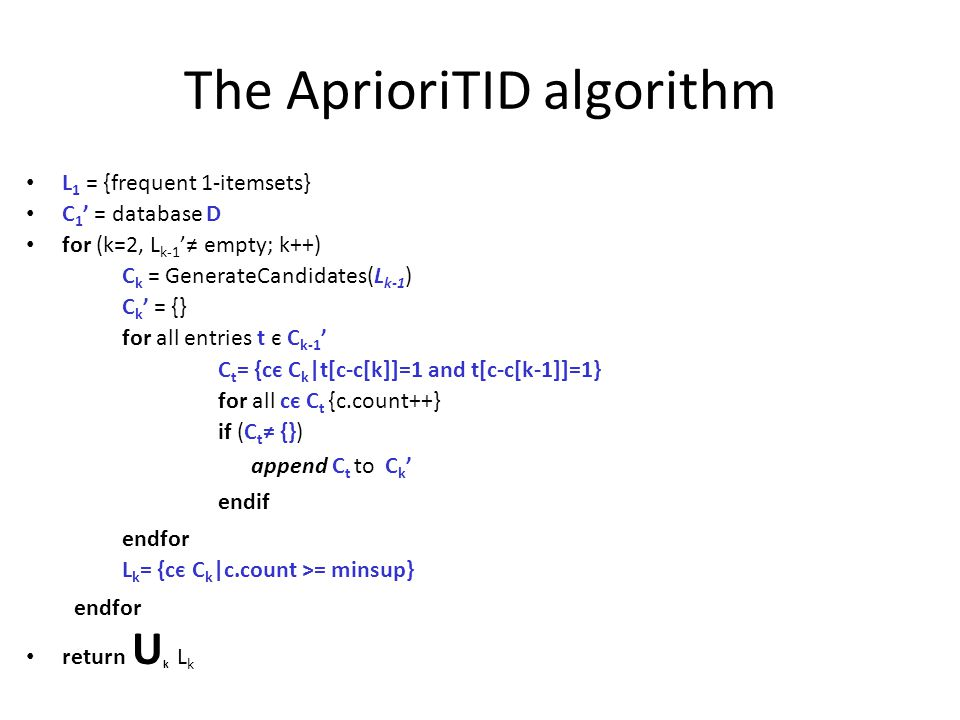 The AprioriTID algorithm