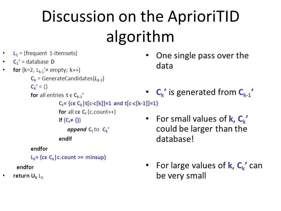 Discussion on the AprioriTID algorithm