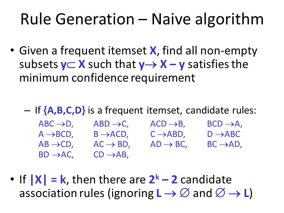 Rule Generation – Naive algorithm