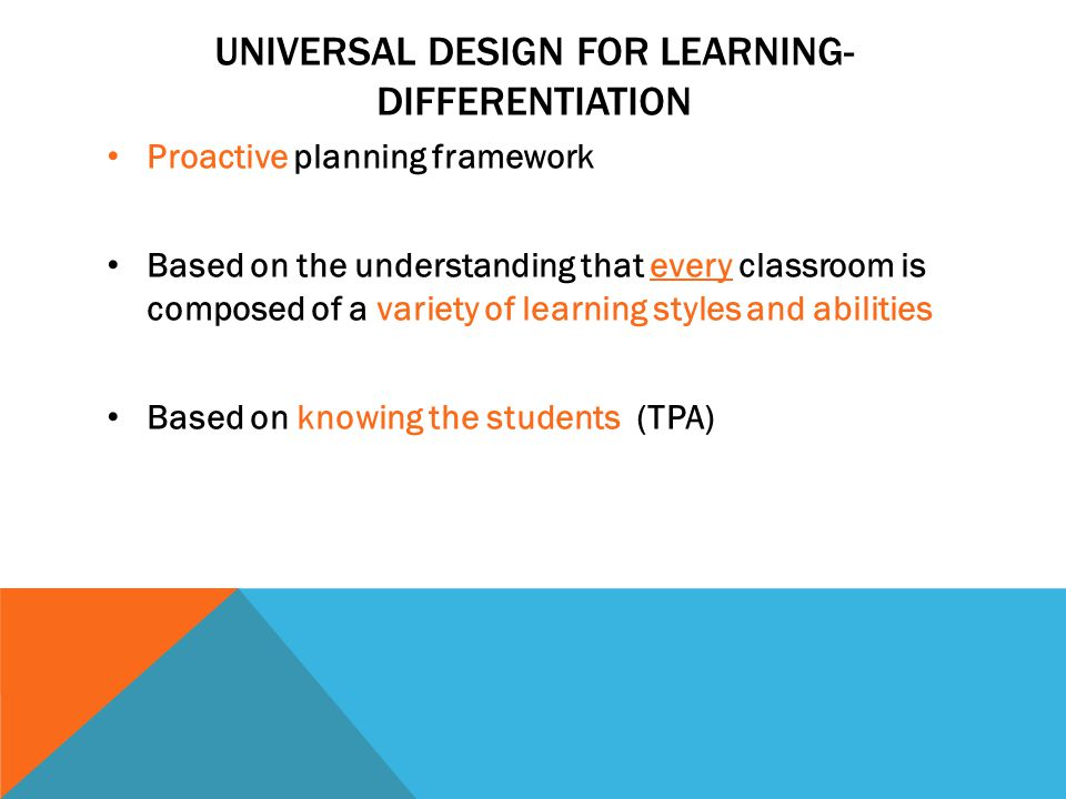 Universal design for learning-differentiation