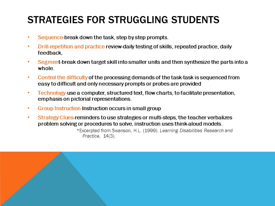 Strategies for struggling students