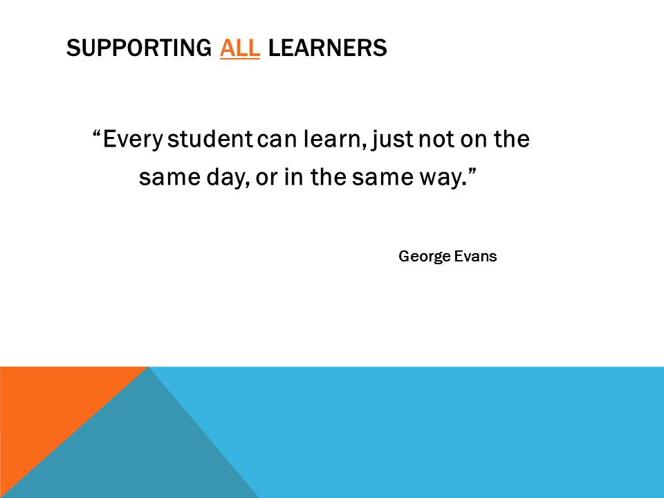 Supporting all Learners