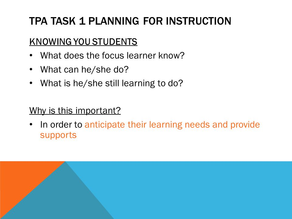 TPA Task 1 Planning for Instruction