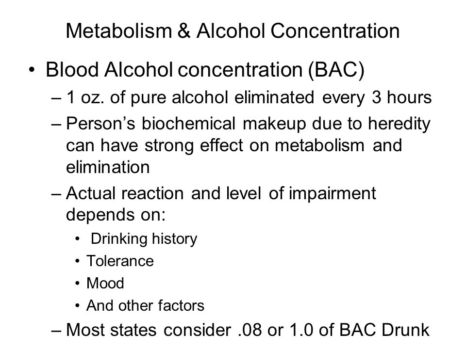 Metabolism & Alcohol Concentration