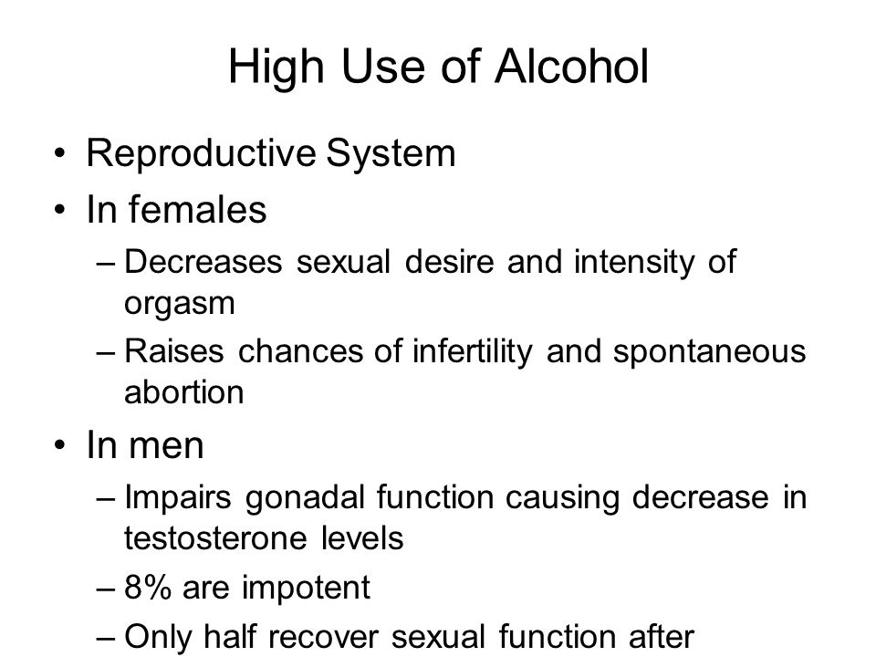 High Use of Alcohol Reproductive System In females In men