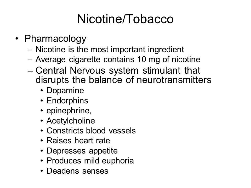 Nicotine/Tobacco Pharmacology
