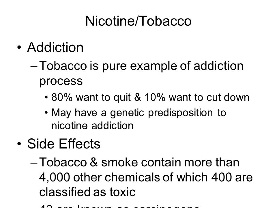 Nicotine/Tobacco Addiction Side Effects