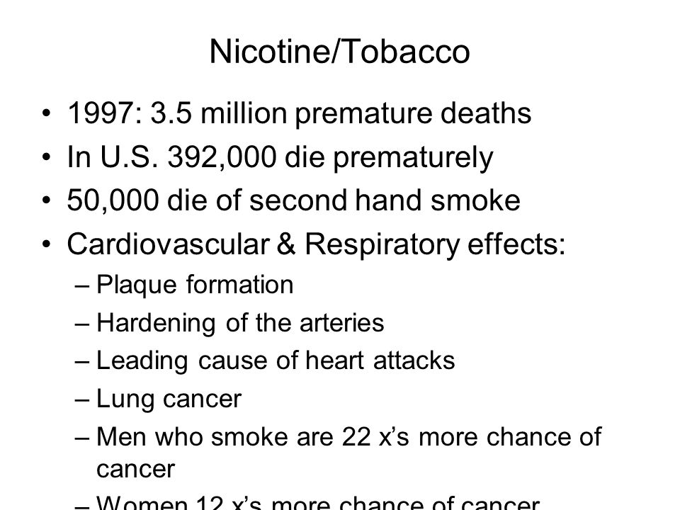 Nicotine/Tobacco 1997: 3.5 million premature deaths