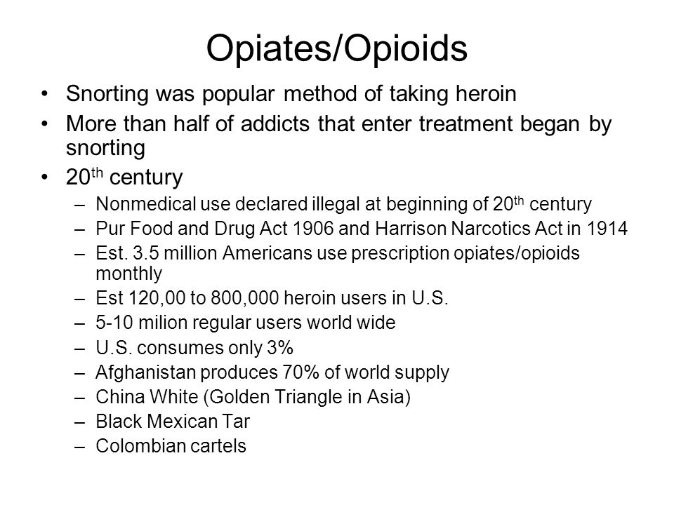 Opiates/Opioids Snorting was popular method of taking heroin