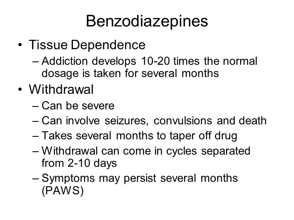 Benzodiazepines Tissue Dependence Withdrawal