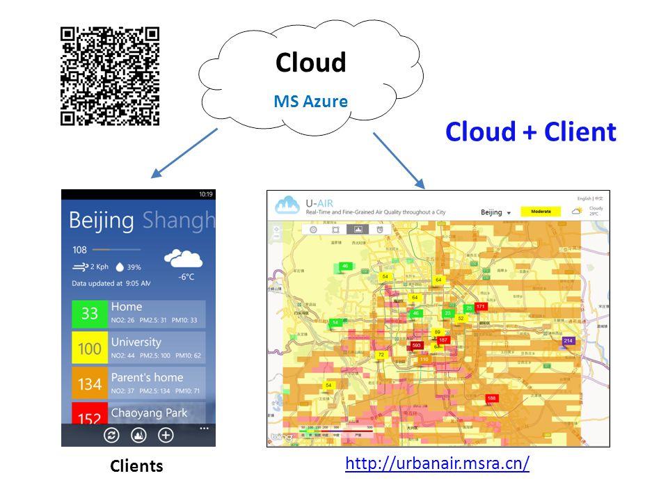 Cloud Cloud + Client MS Azure http://urbanair.msra.cn/ Clients
