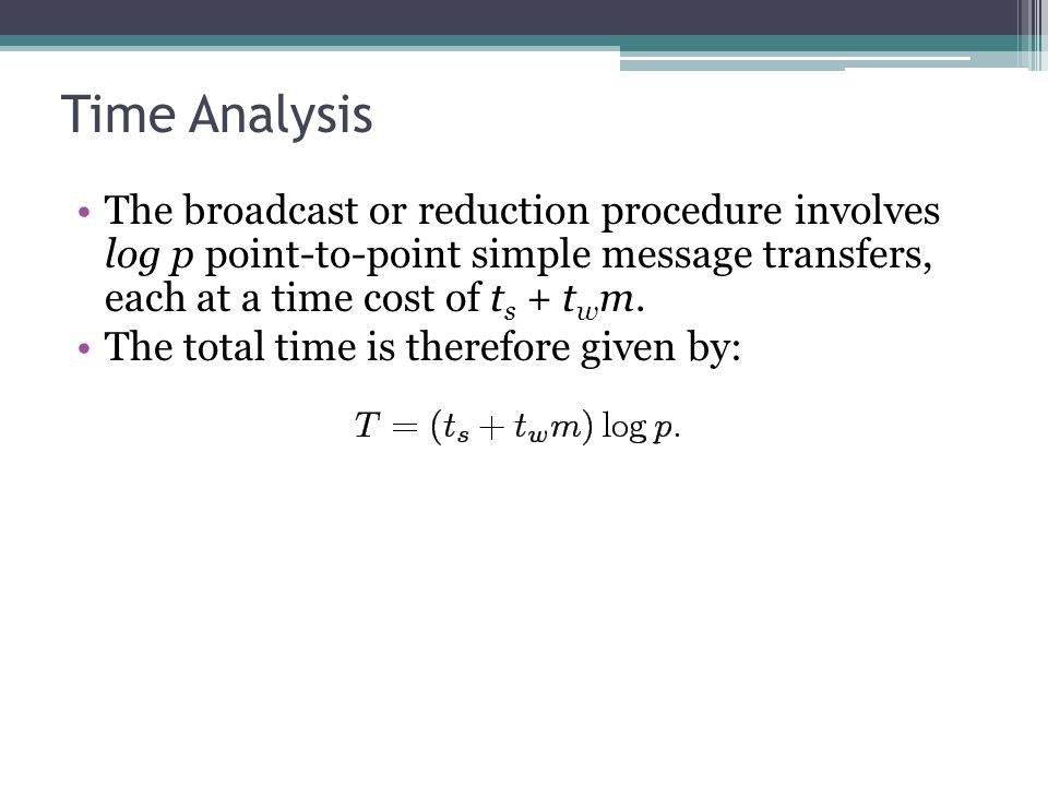 Time Analysis The broadcast or reduction procedure involves log p point-to-point simple message transfers, each at a time cost of ts + twm.